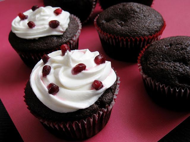 Chocolate Pomegranate Cupcakes