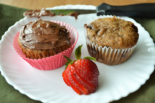 Strawberry Banana Nutella Muffins