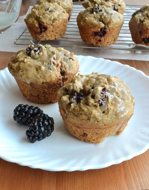 Blackberry Muffins with Lemon Glaze