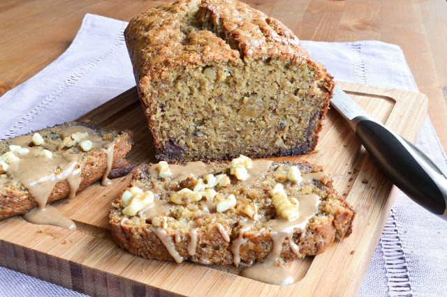 Caramelized Banana Walnut Bread with Cinnamon Glaze