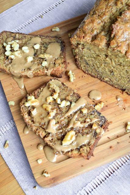 Caramelized Banana Walnut Bread with Cinnamon Glaze