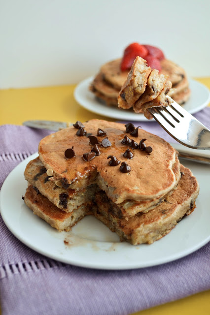 Chocolate Chip Banana Quinoa Pancakes