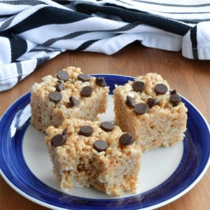 Chocolate Chip Peanut Butter Rice Krispies Squares - She