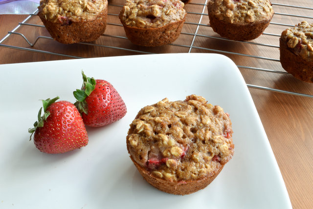 Strawberry Oat and Flax Muffins