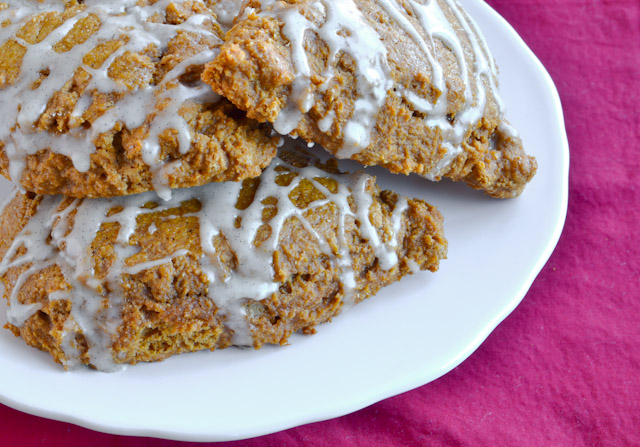 Gingerbread Scones with Vanilla Bean Glaze
