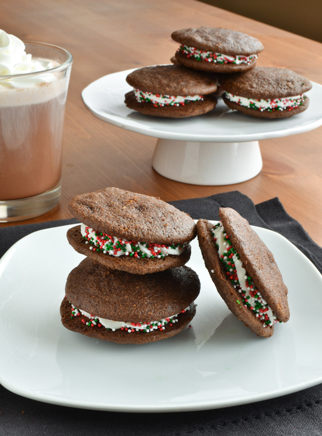 Dark Chocolate Chip Holiday Mint Whoopie Pies - She Bakes Here