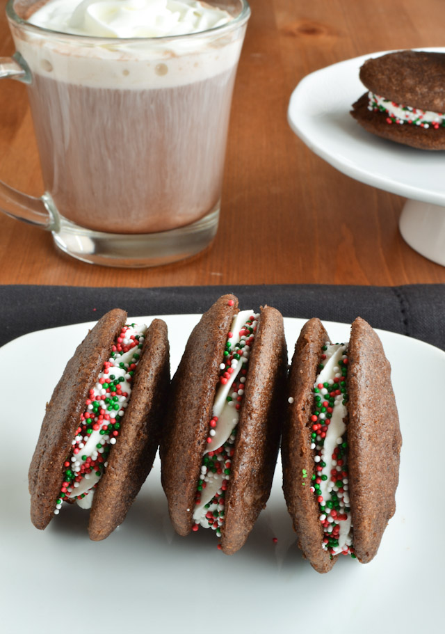 Dark Chocolate Chip Holiday Mint Whoopie Pies