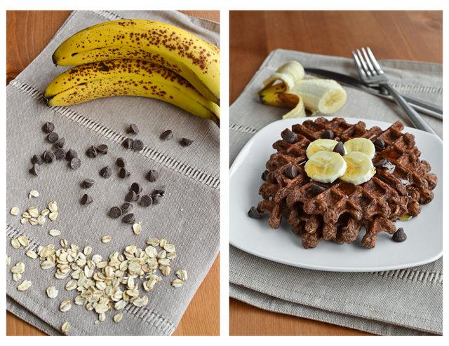 Chocolate Banana Bread Waffles