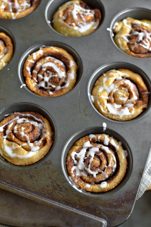 Muffin Tin Cinnamon Buns with Vanilla Ripple Schnapps Icing