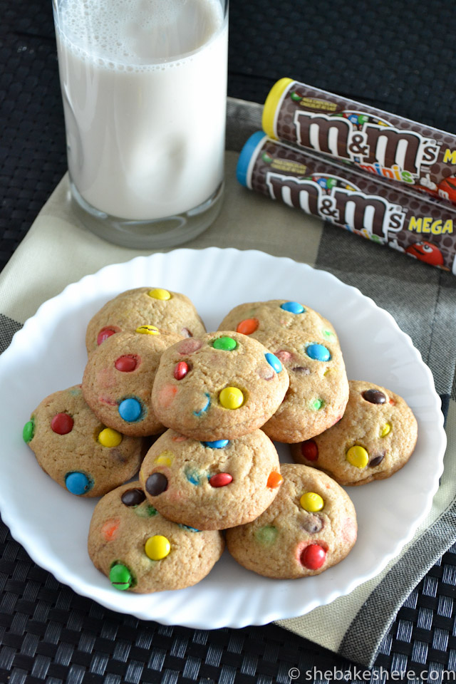 Bite Sized Mini M&M Cookies