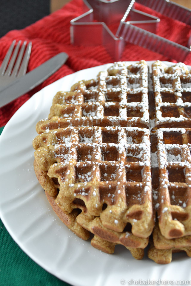Pumpkin Spiced Gingerbread Waffles