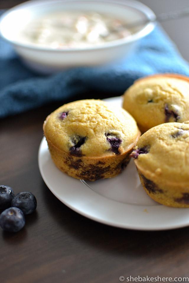 Whole Wheat Blueberry Cornbread Muffins