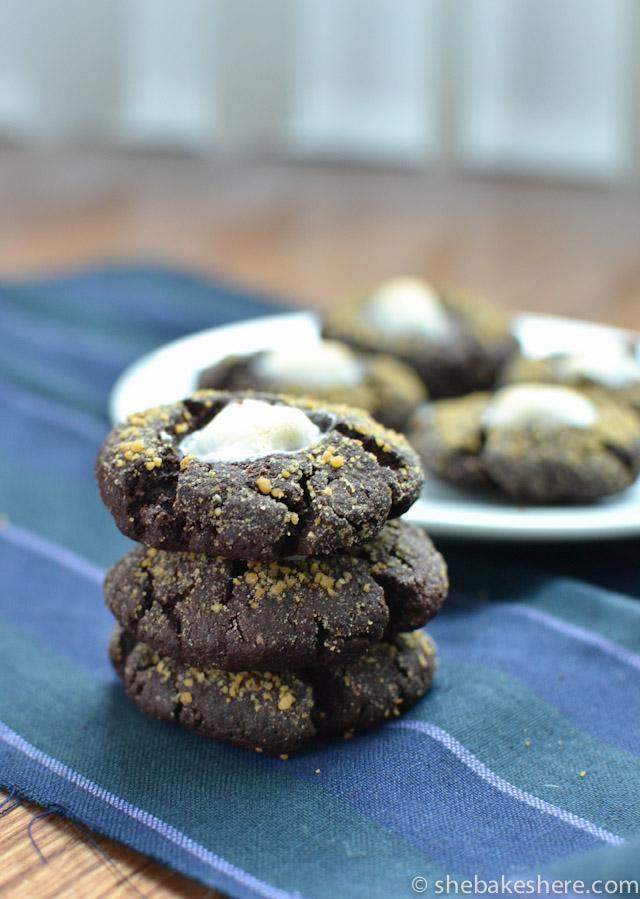 Soft Chocolate Marshmallow Cookies