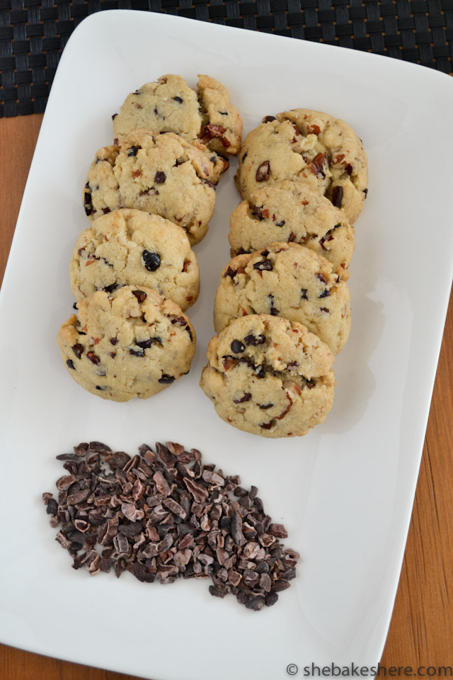 Coconut Oil Cookies with Toasted Pecans and Cacao Nibs