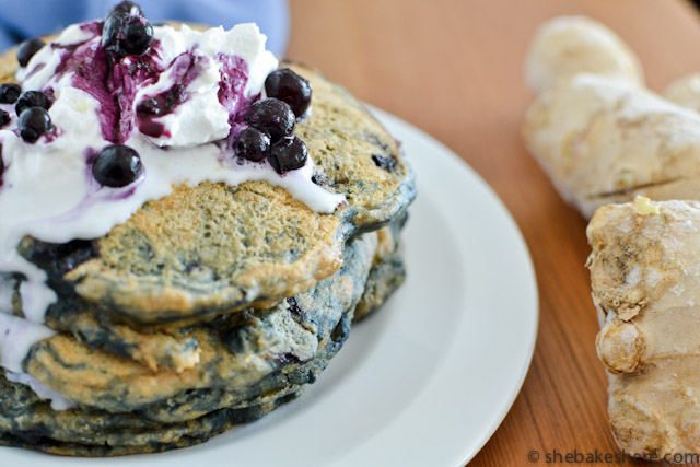 Whole Wheat Ginger Blueberry Pancakes