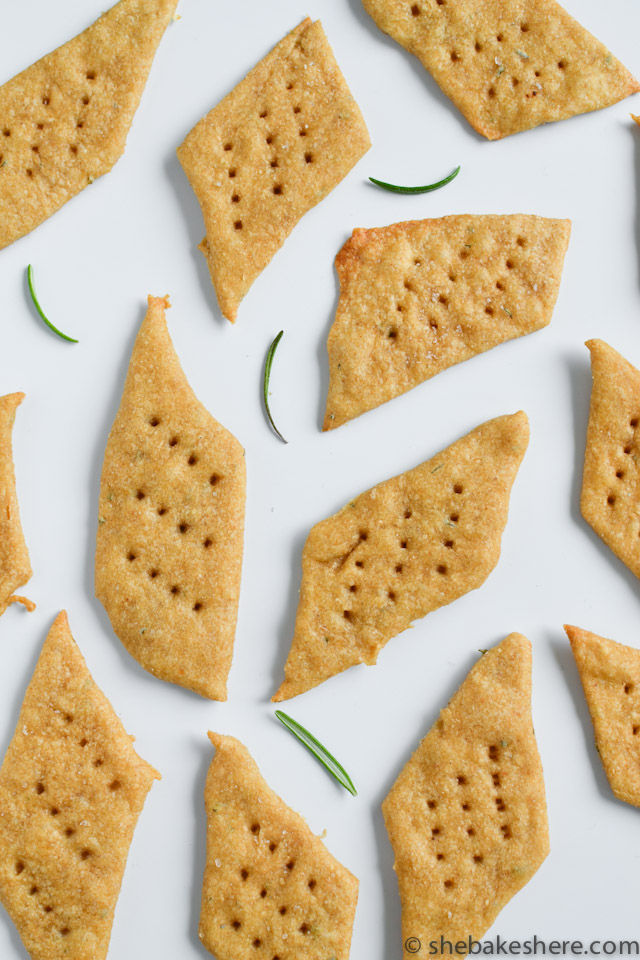 Olive Oil and Rosemary Sea Salt Crackers