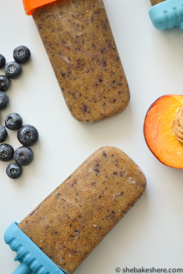 Peachy Blueberry Chia Seed Popsicles