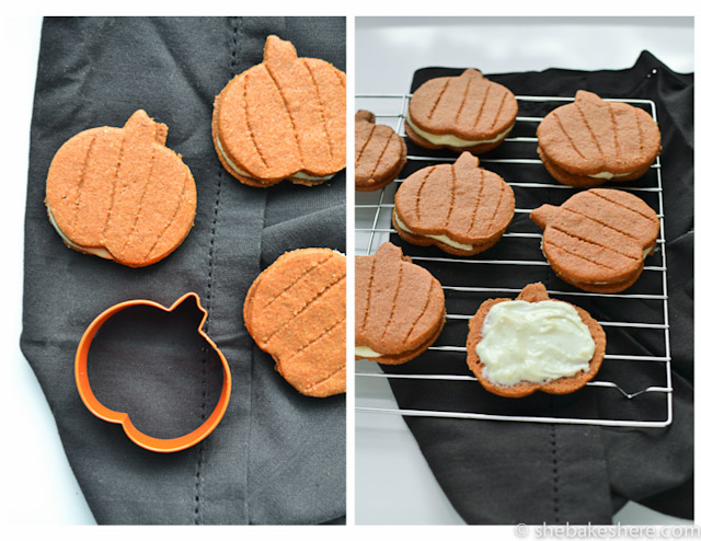 Pumpkin Spiced Sandwich Cookies with Cream Cheese Icing