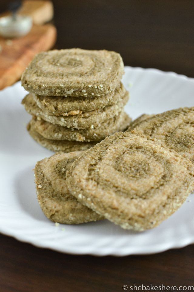 Matcha Almond Pinwheel Cookies