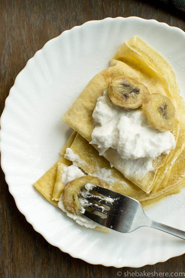 Whole Wheat Crepes with Sauteed Bananas