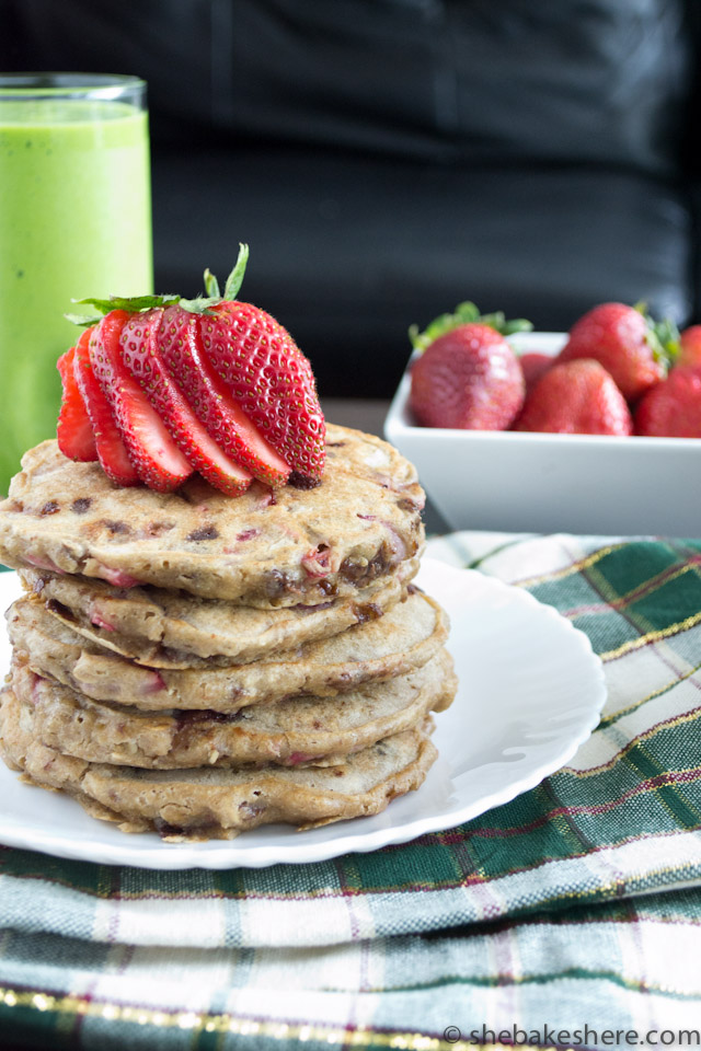 Strawberry Chocolate Chip Oatmeal Pancakes