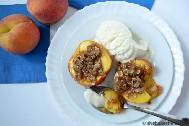 Baked Peaches with Oatmeal Crumble for Two
