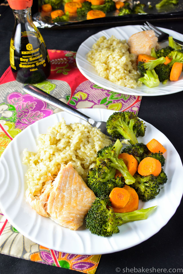 One Pan Baked Salmon and Roasted Veggies