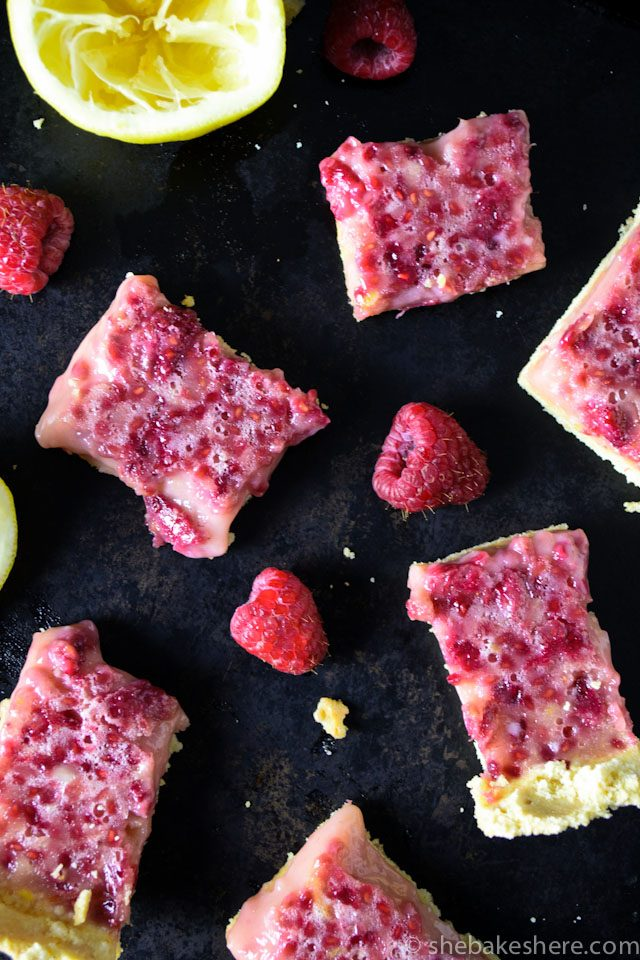 Lemon Raspberry Bars with Shortbread Crust