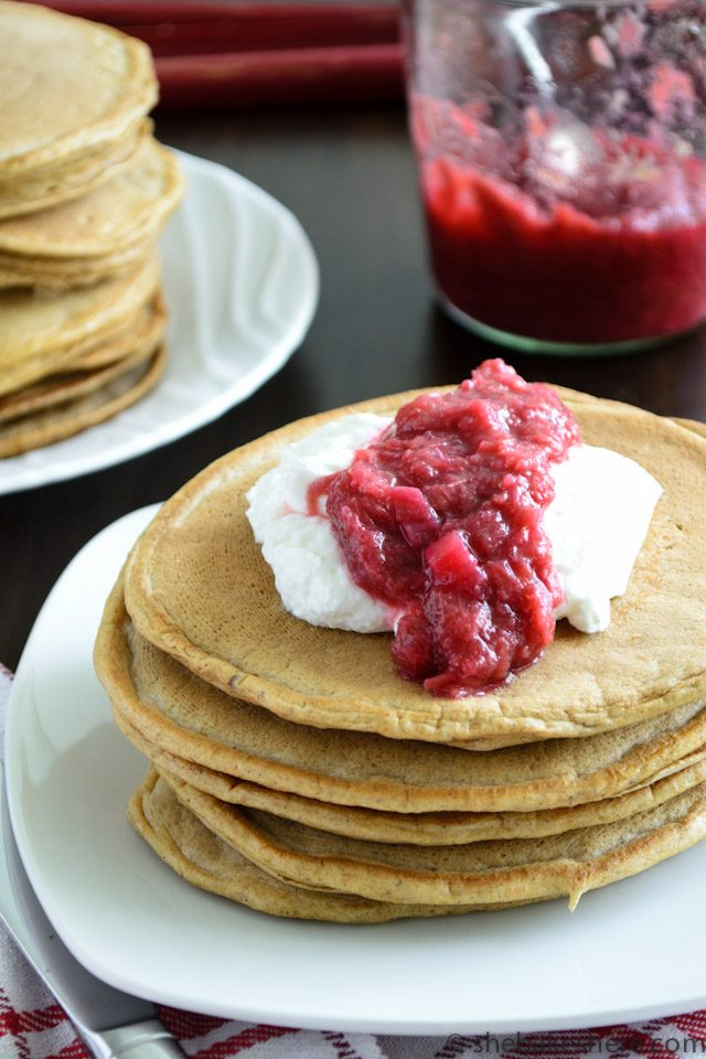 Whole Wheat Flax Pancakes with Stewed Rhubarb